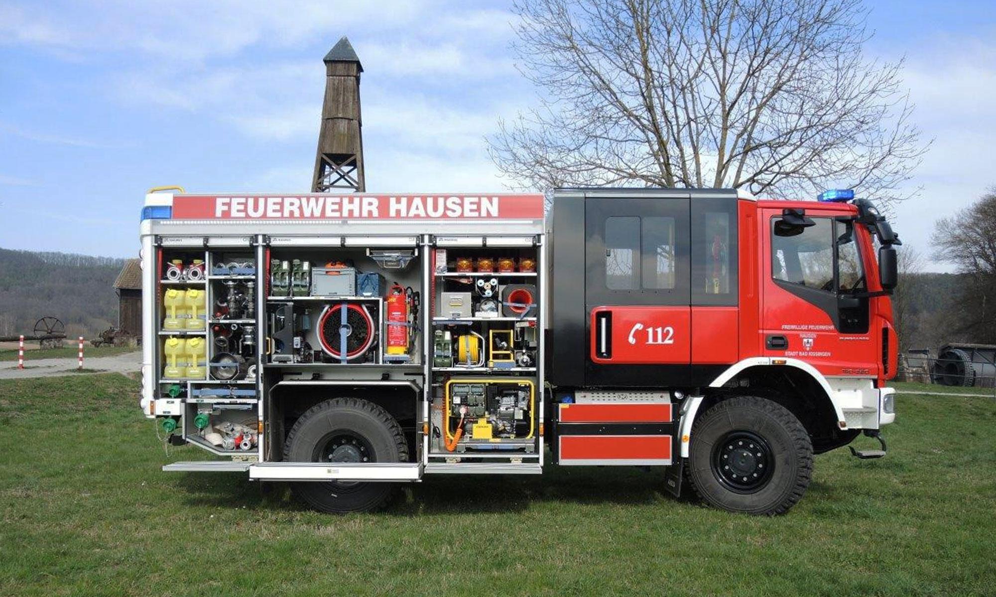 Das Highlight der Ausstattung der Freiwilligen Feuerwehr Hausen ist das Feuerwehrauto LF20 KATS 41/1.